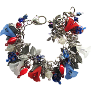 Red, White, and Blue Charm Bracelet with Flowers –Shimmery Leaves – and Sparkling Beads