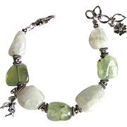 Fairy Bracelet of Natural Moonstone and Prehnite Stones with Sterling Silver Fairy and Accents