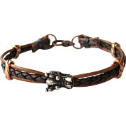 Men's Leather Bracelet with Dragon Focal and Contrasting Copper Accents in ML to L