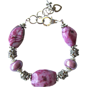 Fuchsia Bracelet of Crazy Lace Agate Nuggets and Porcelain Beads with Silver-Plate Beads