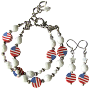 Two-Strand Bracelet of White Faceted Beads and Flag Beads with Matching Earrings