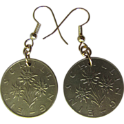 SALE PENDING Edelweiss Earrings from Vintage Austrian Schilling Coins dated 1983 and 1964