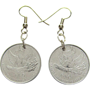 SALE PENDING Angel Coin Earrings of Andorra One Centim Coins dated 1999