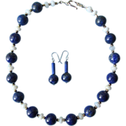 Lapis Lazuli Choker and Earrings with Sterling Silver and African Opal