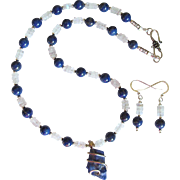 SALE Rough-Cut Lapis Lazuli Pendant Necklace with Lapis Lazuli and Moonstone Beads and Earring