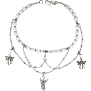 SALE White Angel Choker with Swirls of Swarovski Xilion Crystals and Sparkling Beads with ...