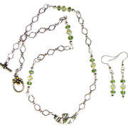 Sterling Silver Claddagh Pendant on Chain with Peridot and Swarovski Crystals and Matching Ear