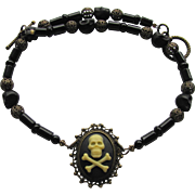 Skull Cameo Choker with Black Agate – Filigreed Beads – Black Skull Beads – Matching Ear