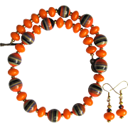 SALE Necklace in Orange and Tangerine with Black and Orange Striped Beads and Tangerine Rondel