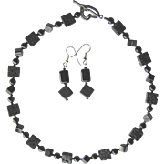 Black Necklace of Agate and Polished Lava with Matching Earrings