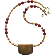 Carnelian and Swarovski Crystals Necklace with Picture Jasper Pendant and Gold Vermeil Accents