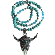 Nevada Turquoise Necklace with Silver Longhorn Pendant - Swarovski Crystal – Sterling Silver