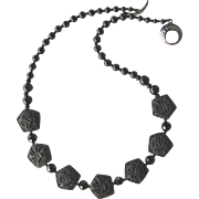 Black Necklace of Swarovski Crystals and Black Agate with Black Resin Flower-Embellished Beads