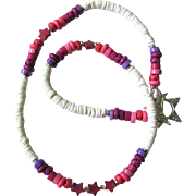 White Choker in Shades of Pink and Purple with Star Accents