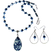 Blue and White Pottery Shard Pendant Necklace with Lapis – Swarovski Crystals – Sterling .