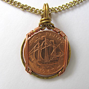 SOLD Mens Necklace with Ship in Full Sail Half Penny Coin Pendant