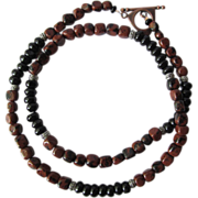 SOLD Mens Choker of Mahogany Obsidian and Black Agate with Silver Accents