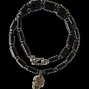 SOLD Black Swarovski Crystal Skull Pendant on Black Obsidian Necklace