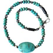 SOLD Men's Turquoise Choker with Large Turquoise Nugget and Sterling Silver Accents