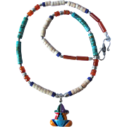 SOLD Zuni Frog Pendant on Necklace with Nacozari Turquoise – Carnelian – Sterling Silver -