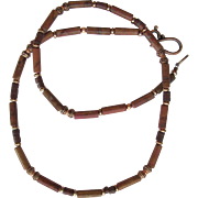 SOLD Men's Choker of Ocean Jasper in Chestnut Shades with Pipestone and Copper Accents