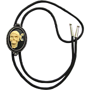 SOLD Bolo Tie with Pirate Skull Slider in Black and Off-White with Gunmetal Setting