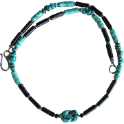 Men's Turquoise and Black Agate Necklace with Nacozari Turquoise Heishis and Turquoise Nugge