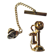 Old Fashioned Telephone Vintage Tie Tack
