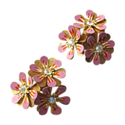 Fabulous Coro Earrings with Large Mauve Flowers and Rhinestone Accents