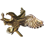 SALE Vintage Eagle Tie Tack of Gold Vermeil by Anson with Eagle in Flight