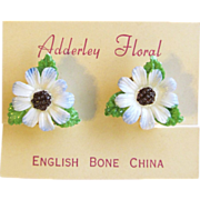 Daisy Flower Earrings of English Bone China by Adderley Floral – Mint on Original Card