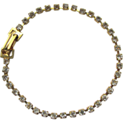 Vintage Tennis Bracelet with Sparkling Prong Set Rhinestones Size M-L