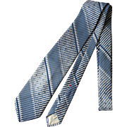 SOLD Vintage Beau Brummel Jacquard Necktie in Blue and Silver