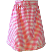 SALE PENDING Vintage Pink Gingham Apron with White and Gold Ric Rac Trim