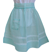Vintage Apron of Sheer Taffeta in Light Aqua with Rick Rack Embellishments