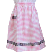 Vintage Apron in Light Pink Gingham with Intricate Cross-Stitch Design