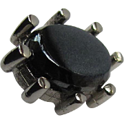 Vintage Tie Tack with Black Hematite Stone in Silver-Plate Prong Setting