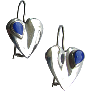 SALE PENDING Vintage Heart Shaped Sterling Silver Earrings Embellished with Small Lapis Lazuli