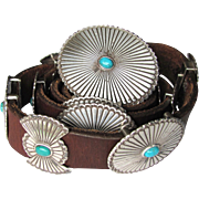SOLD Vintage Turquoise Concho Leather Belt with Oval and Butterfly Conchos of Nickel-Silver