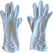 Vintage Light Blue Gloves – Wrist Length with Ruching by Fownes