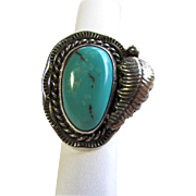 Vintage Turquoise Native American Ring in Sterling Silver Setting size 6 ½