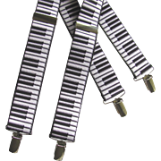 Vintage Piano Keyboard Suspenders with Black and White Keys