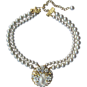 Vintage 1950's Two-Strand Rhinestone and Glass Pearl Choker with Mother of Pearl Pendant