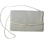 Vintage White Mesh Clutch with Golden Accents and Snake Chain Convertible Strap