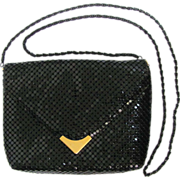 Vintage Black Mesh Clutch with Convertible Strap Size Small