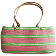 Vintage Straw Handbag in Pink and Green Stripes with White Accent Stripes