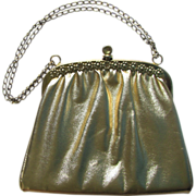 Vintage Handbag in Gold-Colored Vinyl with Flower Embellishment and Adjustable Chain