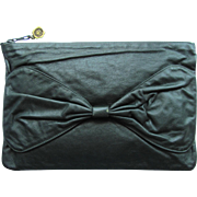 SOLD 1960s Clutch with Large Bow in Deep Green Leather – Made in Italy