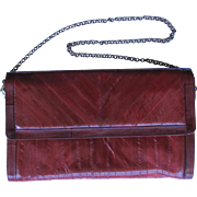 SALE Vintage Eel Skin Leather Clutch in Rich Burgundy with Convertible Handle and Multiple Com