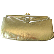 Vintage Clutch of Golden Vinyl with Black Satin Lining